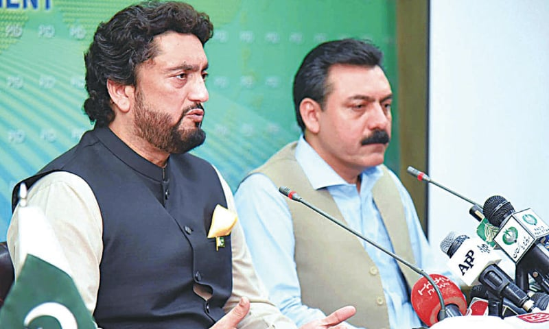 MINISTER for Narcotics Control and Safron Shehryar Khan Afridi addresses the press conference.—APP