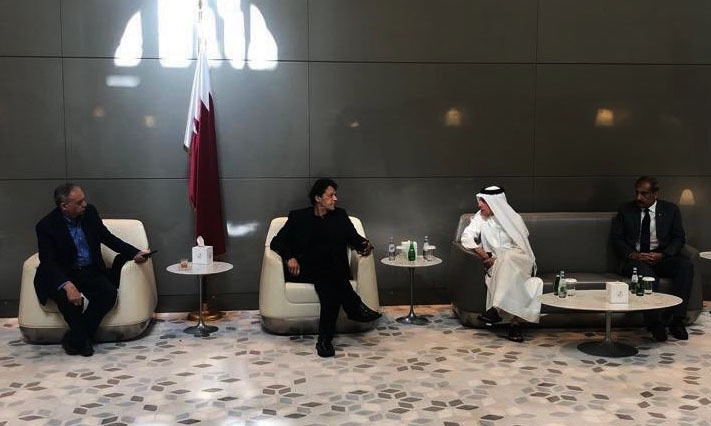 PM Imran meeting Qatar Airways CEO Akbar Albaker. — Photo courtesy Radio Pakistan