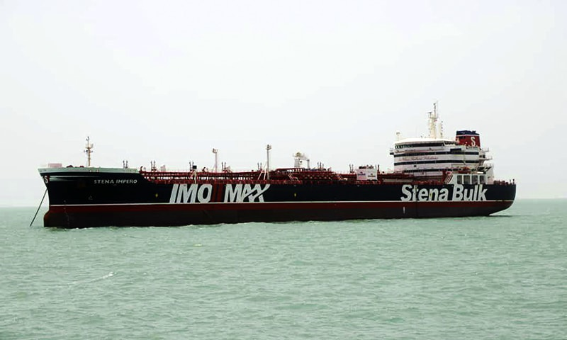 A British-flagged oil tanker Stena Impero which was seized by the Iran's Revolutionary Guard on Friday is photographed in the Iranian port of Bandar Abbas, Saturday, July 20, 2019. — AP