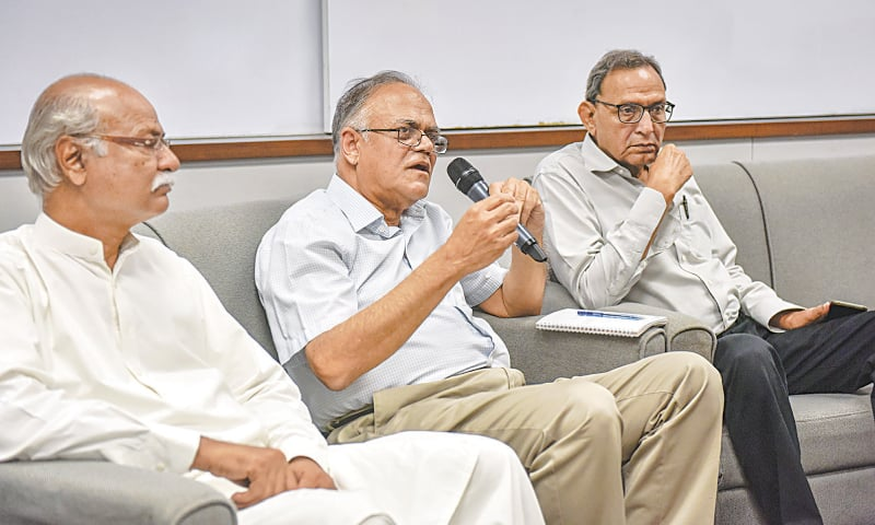 FORMER senator and federal minister Javed Jabbar speaks at the reference. —White Star