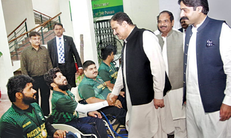 Punjab Chief Minister Usman Buzdar meets Asian Wheelchair T20 Cricket Cup winners during his visit to Nishtar Park Sports Complex.