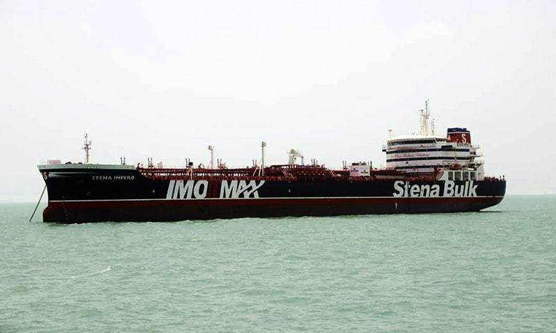 A British-flagged oil tanker Stena Impero which was seized by the Iran's Revolutionary Guard on Friday is photographed in the Iranian port of Bandar Abbas on July 20. — AP/File