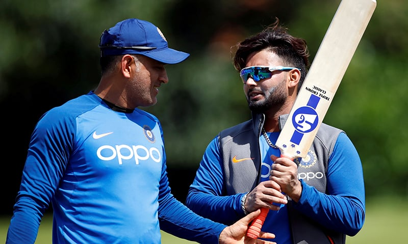 India's MS Dhoni (L) and Rishabh Pant during nets   on June 29 during ICC World Cup. — Reuters