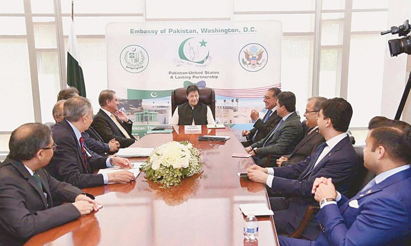 WASHINGTON: Shahal Khan, an American investor of Pakistan descent, calls on Prime Minister Imran Khan at the Pakistan Embassy on Sunday.—APP