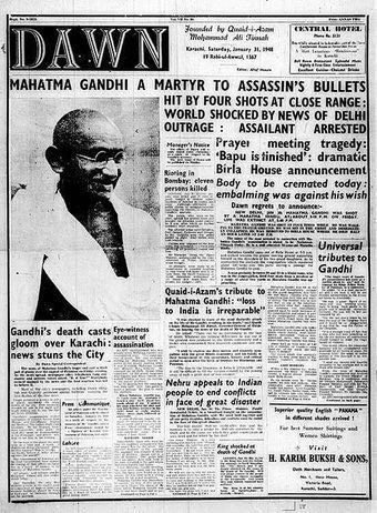 Front page of Dawn on January 31, 1948, carrying the news of Gandhi's assassination.