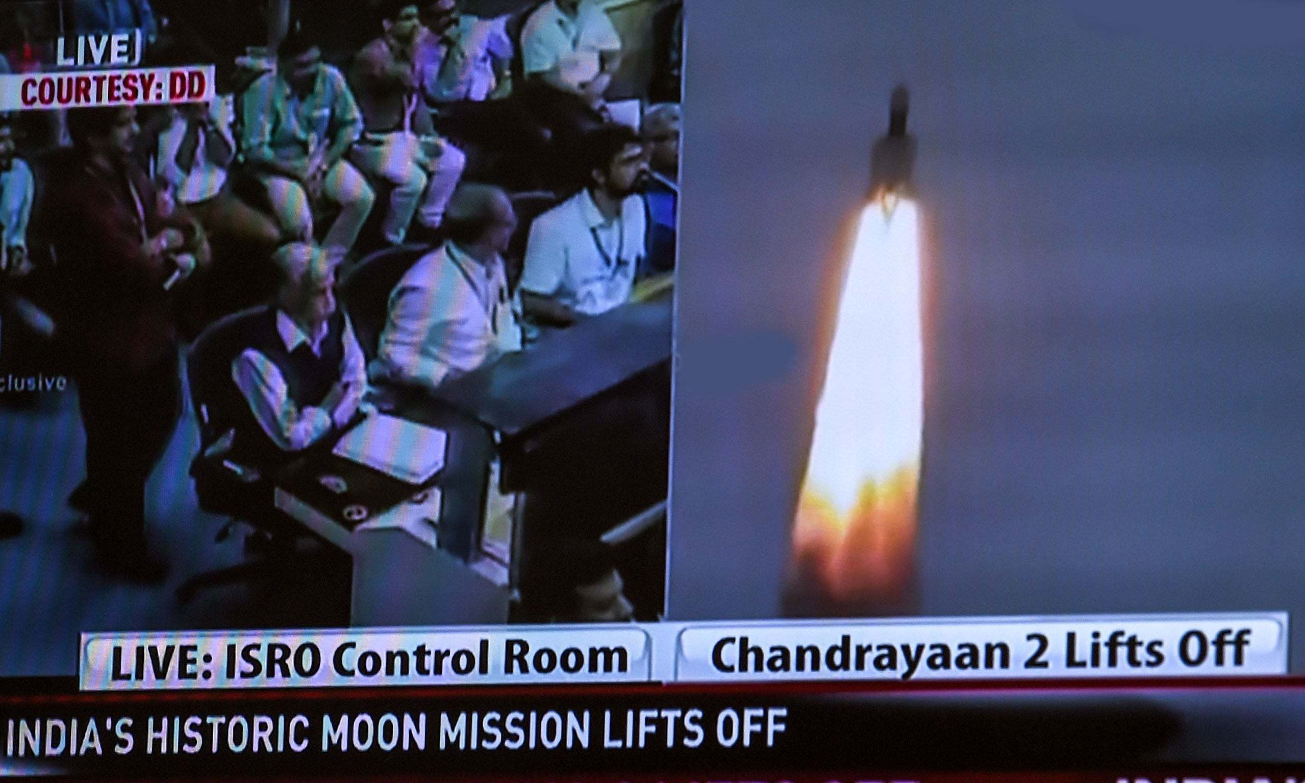 A television grab shows the launch of Chandrayaan at the Satish Dhawan Space Centre in Sriharikota, an island off the coast of southern Andhra Pradesh state, in New Delhi on Monday. — AFP