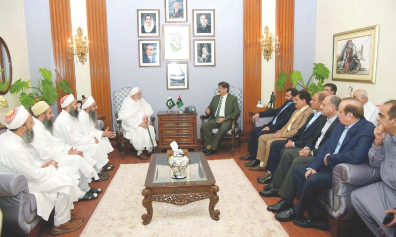 MURAD Ali Shah hosts a reception for Syedna Mufaddal Saifuddin at CM House on Monday.—PPI