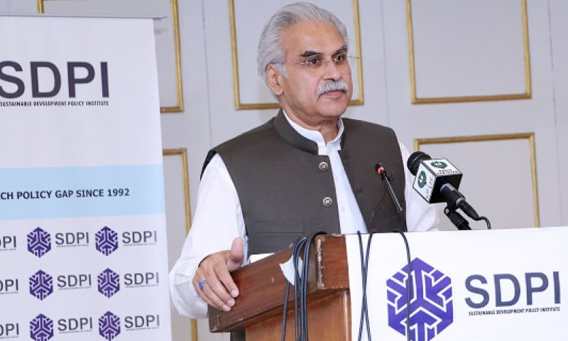 Special Assistant to the Prime Minister on Health Dr Zafar Mirza speaks at the seminar on Monday.
