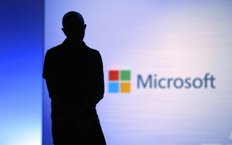 Seattle: In this May 7, 2018, file photo Microsoft CEO Satya Nadella looks on during a video as he delivers the keynote address at Build, the company's annual conference for software developers.—AP