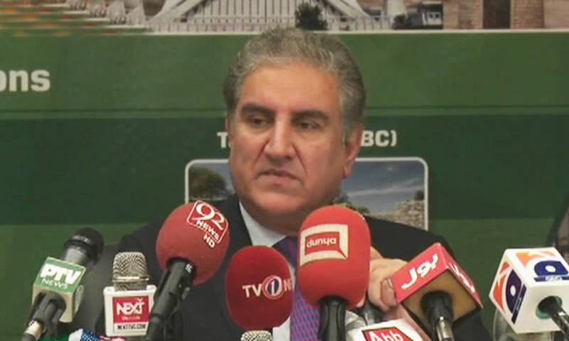 Foreign Minister Shah Mahmood Qureshi addressing a press conference in Washington. — DawnNewsTV/File