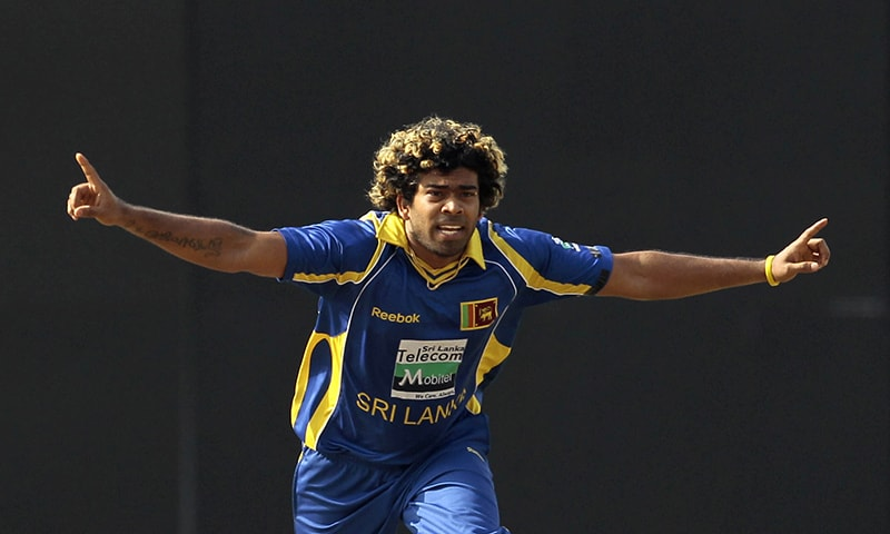 In this June 13, 2012 file photo, Sri Lankan bowler Lasith Malinga celebrates the wicket of Pakistan's batsman Mohammad Hafeez, unseen, during the third one day international cricket match between Pakistan and Sri Lanka in Colombo, Sri Lanka. — AP/File
