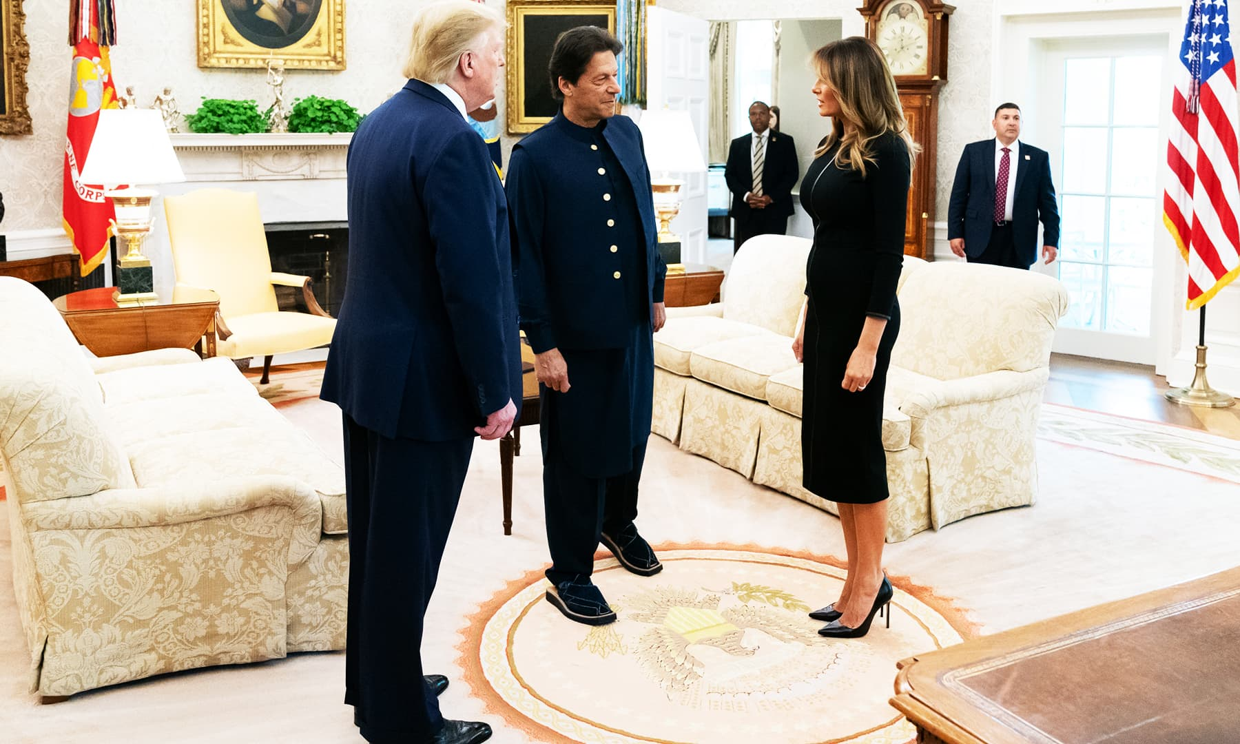 PM Imran greeting US First Lady Melania Trump. — AP