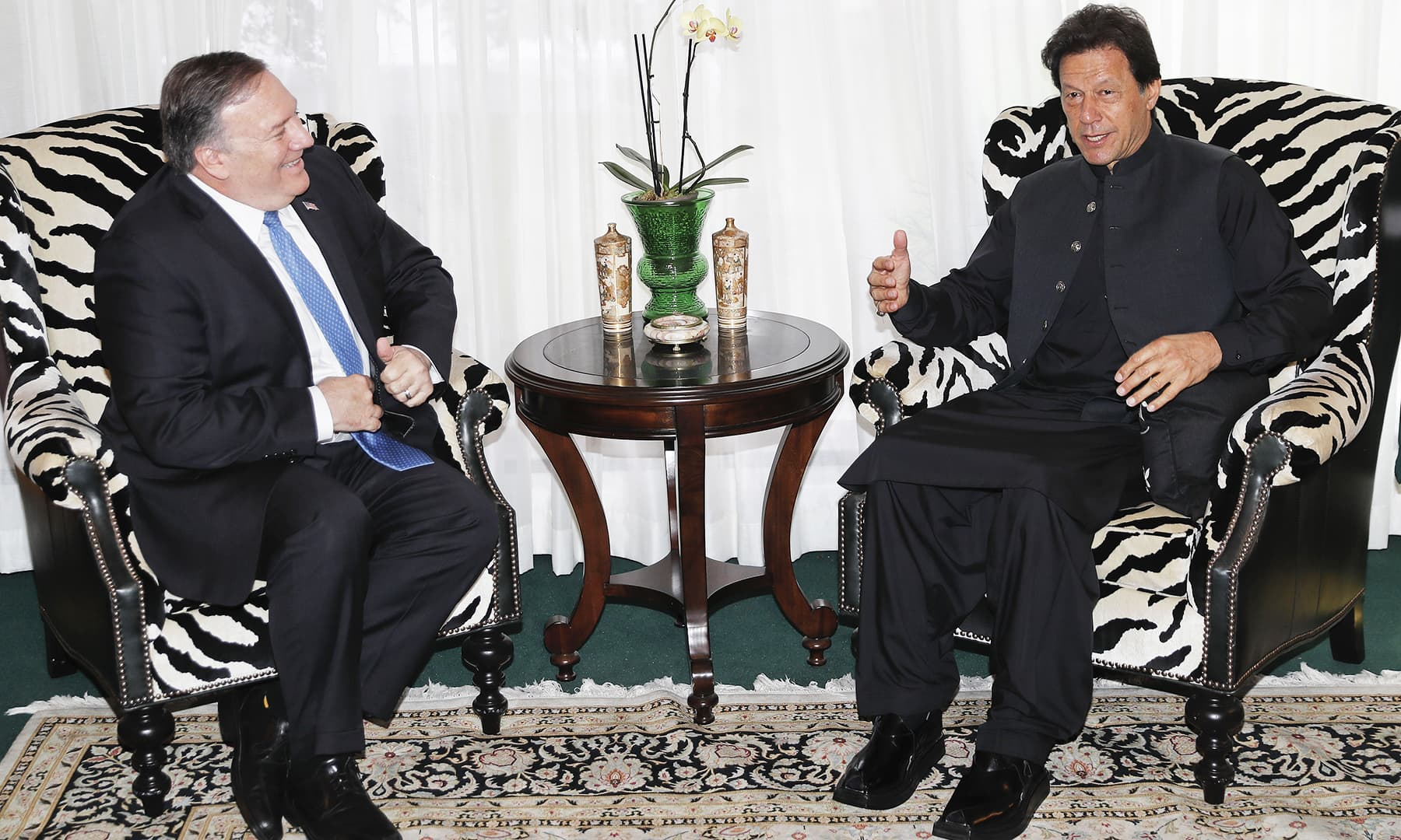 Secretary of State Mike Pompeo meets with PM Imran at the residence of Pakistani Ambassador in Washington Dr Asad Majeed Khan on July 23. — AP