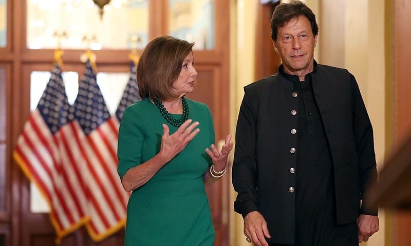 US House Speaker Nancy Pelosi and Prime Minister Imran Khan prepare to talk to reporters before a meeting at the US Capitol on July 23 in Washington, DC. — AFP