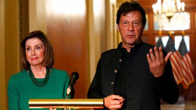 Prime Minister Imran Khan, right, speaks to the media with House Speaker Nancy Pelosi of Calif., on Tuesday on Capitol Hill in Washington. — AP