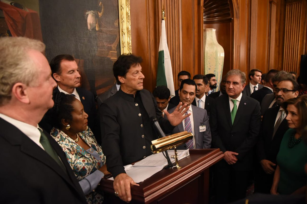 Prime Minister Imran Khan speaks at reception at Capitol Hill in Washington on Tuesday. ─ Govt of Pakistan