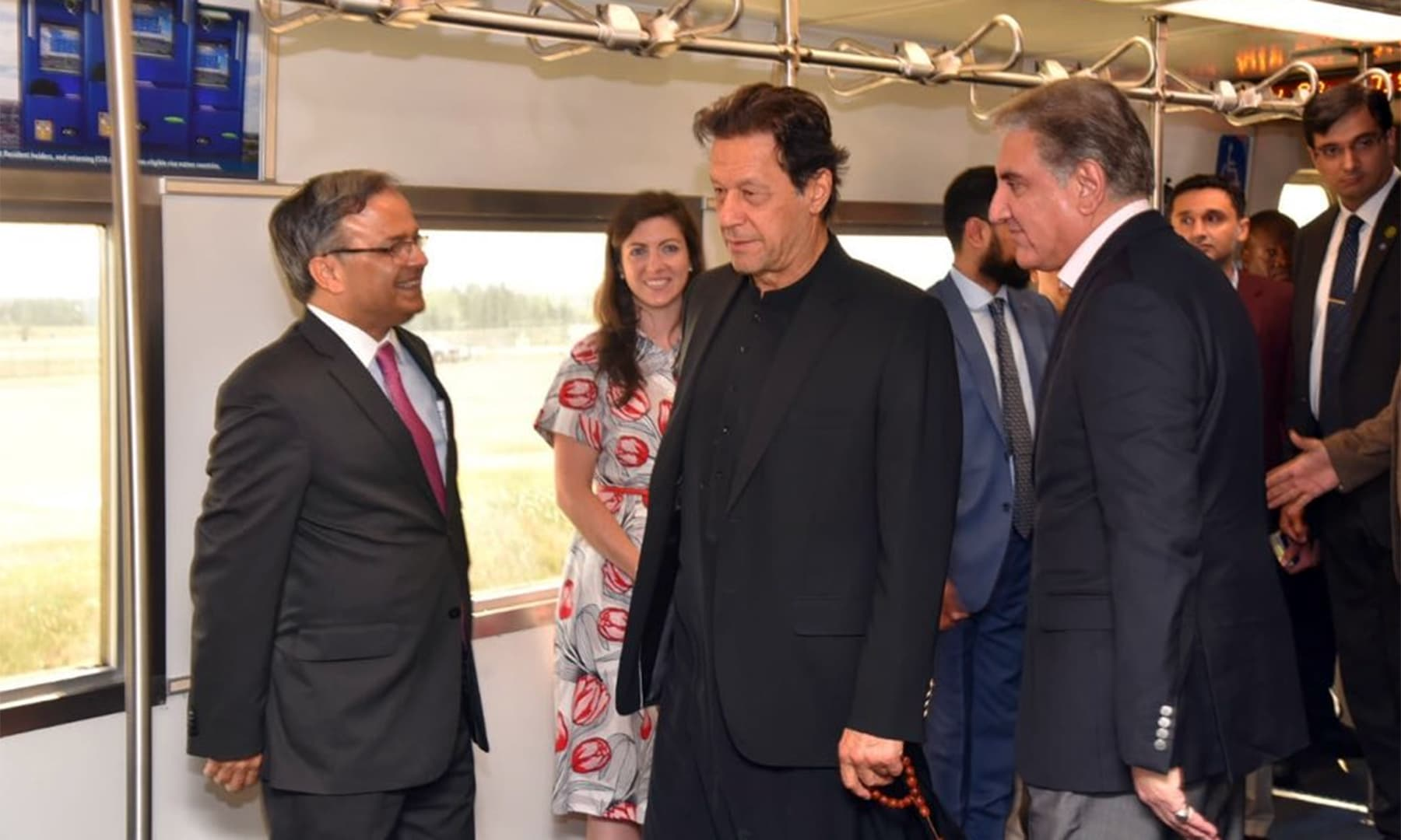 PM Imran pictured travelling in the airport shuttle upon landing at the Dulles International Airport on July 21. — PTI Official