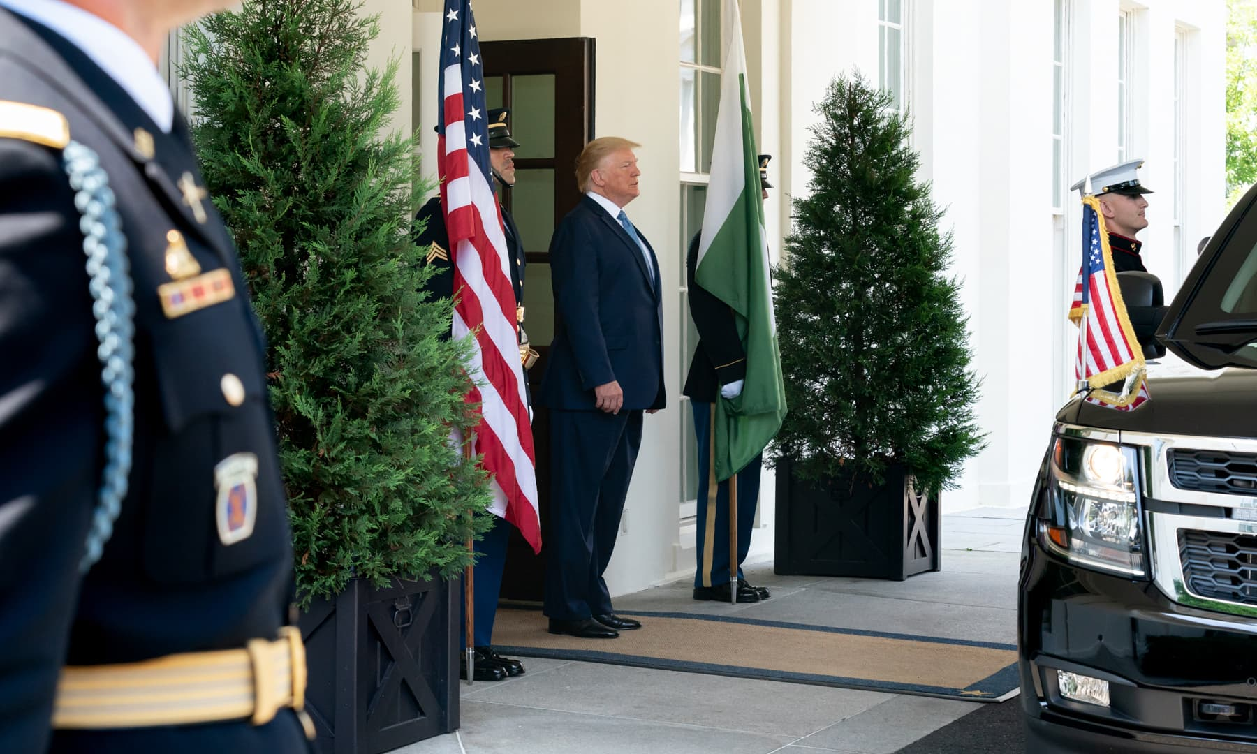 US President Donald Trump awaiting Prime Minister Imran Khan's arrival. — Photo courtesy White House Flickr