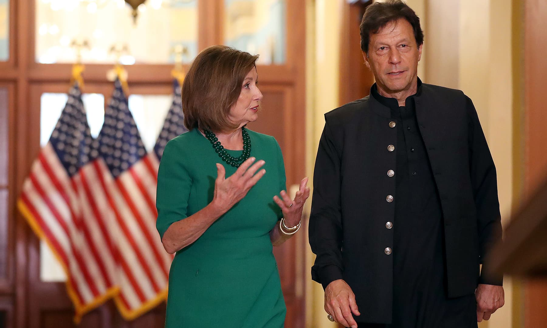 US House Speaker Nancy Pelosi and PM Imran prepare to talk to reporters before a meeting at the US Capitol on July 23. — AFP