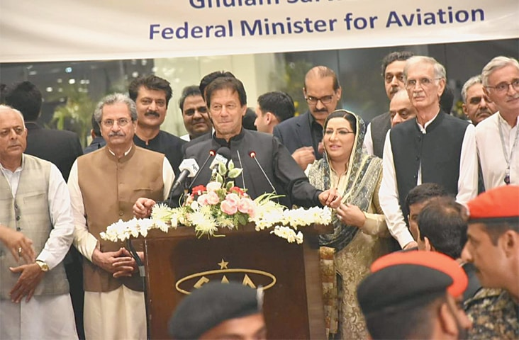 ISLAMABAD: Prime Minister Imran Khan addressing the party workers who gathered to welcome him on his return from the United States.