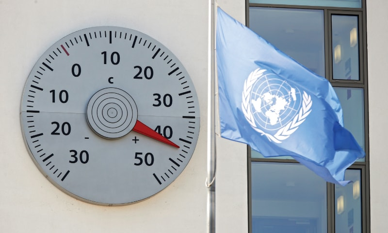Bonn (Germany): A huge thermometer mounted on a wall at the headquarters of the United Nations Framework Convention on Climate Change shows a temperature of 42 degrees Celsius on Wednesday.—Agencies