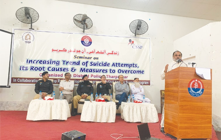 Moot on suicide under way in Mithi on Thursday.—Dawn
