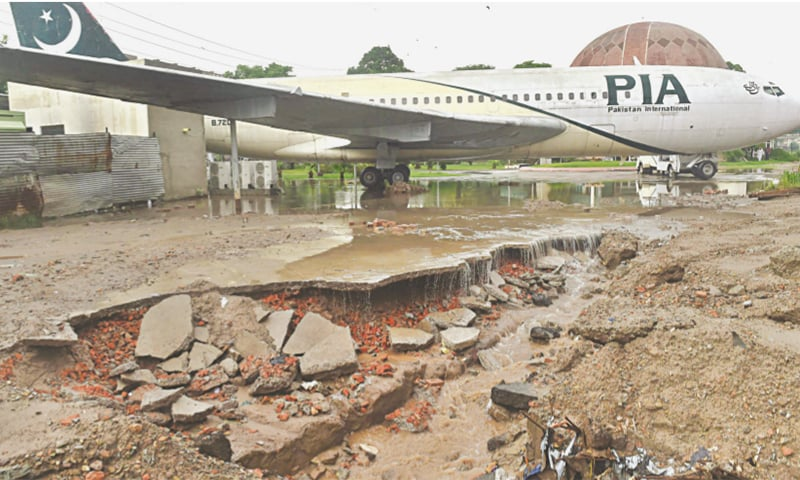 The platform near the PIA Planetarium damaged during downpour on Thursday. — White Star/ M. Arif