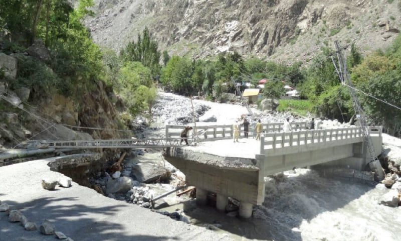 The bridge in Golen valley after being hit by the recent glacial lake outburst flood. — Dawn