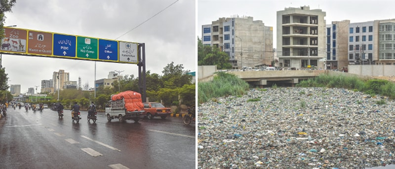 SHAREA Faisal seen after drizzle and (right) a nullah in Qayyumabad is choked with rubbish on Saturday, exposing the claims of the powers that be.—Fahim Siddiqi / White Star