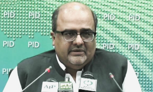 Special Assistant to the Prime Minister on Accountability Shahzad Akbar addresses a press conference on Sunday. — DawnNewsTV