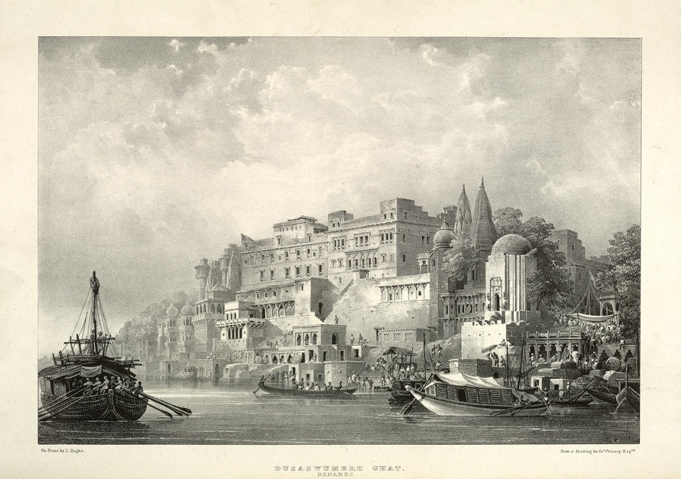 'Dusaswumedh Ghat, Benares', a lithograph by James Prinsep. Image credit: James Prinsep, British Library/Wikimedia Commons [Licensed under CC BY Public Domain Mark 1.0].