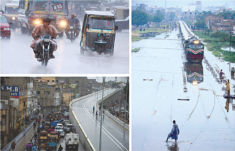 (CLOCKWISE) This Online photo shows motorists are on their way during rainfall in Karachi on Monday. A train passing through rainwater accumulated near Hyderabad railway station after downpour and an aerial view of Golimar in Karachi.—APP / White Star