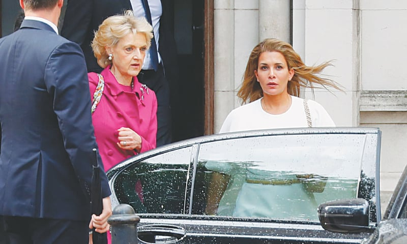 LONDON: Princess Haya bint al-Hussein (right), accompanied by her lawyer Fiona Shackleton, leaves the High Court on Tuesday. — AFP