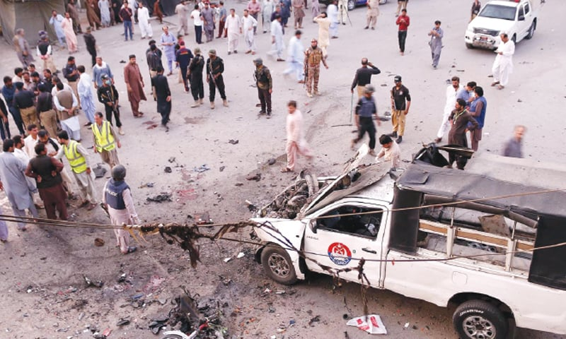 QUETTA: A view of the police vehicle damaged in a bomb blast on Tuesday. The bomb was planted in a motorcycle.—INP