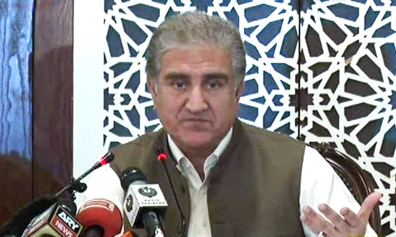 Foreign Minister Shah Mahmood Qureshi addressing a press conference in Islamabad on Wednesday. — DawnNewsTV