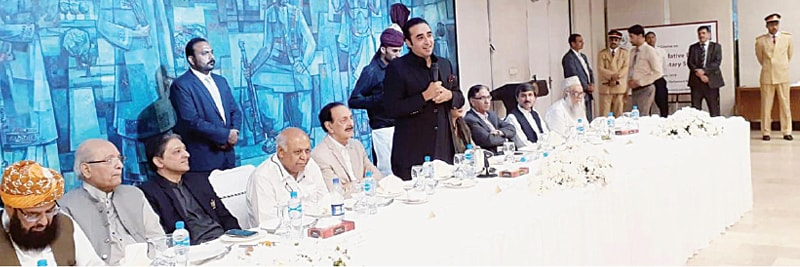 PPP chairman Bilawal Bhutto-Zardari addressing guests at a lunch hosted for opposition senators.—Online