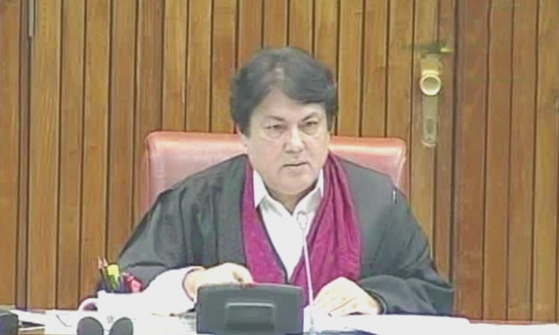 Barrister Muhammad Ali Saif is chairing today's Senate session. — DawnNewsTV screengrab