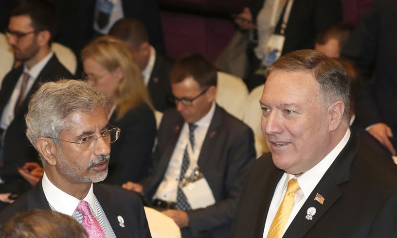 India's External Affairs Minister S. Jaishankar talks with US Secretary of State Mike Pompeo before the East Asia Summit meeting in Bangkok, Thailand, on Friday. — AP