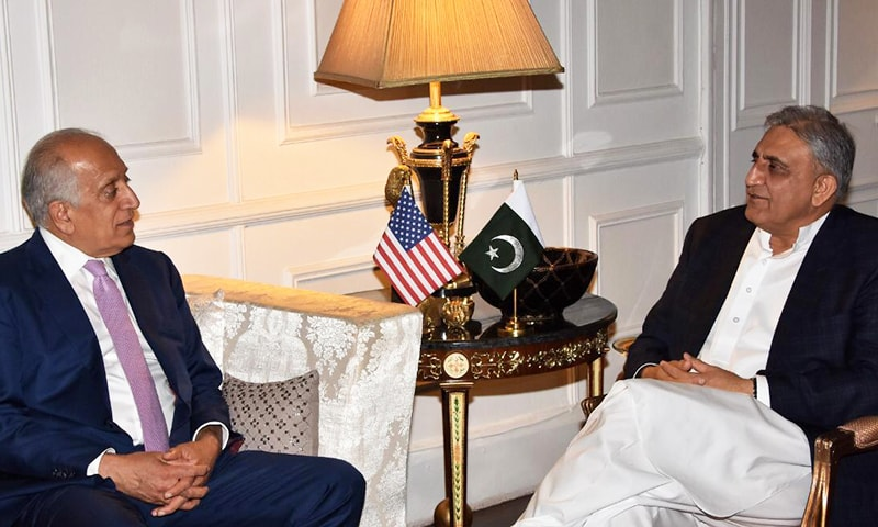 Chief of Army Staff General Qamar Javed Bajwa meeting with the US Special Representative for Afghanistan Reconciliation Zalmay Khalilzad on Friday. — ISPR
