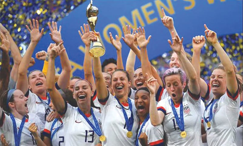 The US women's national soccer team celebrate their World Cup triumph
