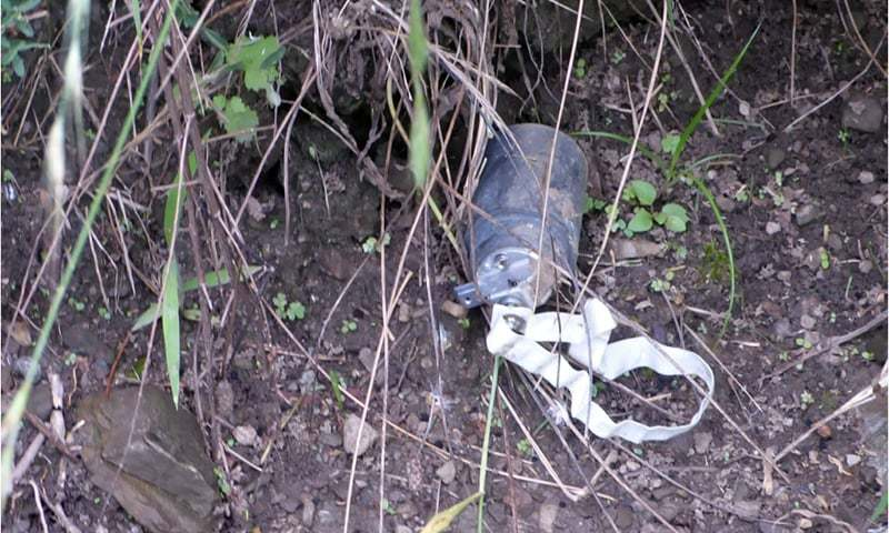 A cluster bomb shell fired by Indian border troops. — Photo courtesy ISPR/File