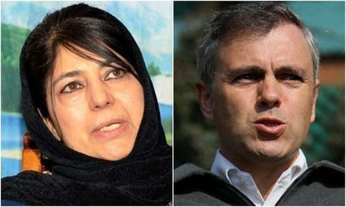 Former chief ministers of Indian-occupied Kashmir (IoK) Omar Abdullah and Mehbooba Mufti were placed under house arrest late Sunday night. — AFP/Reuters