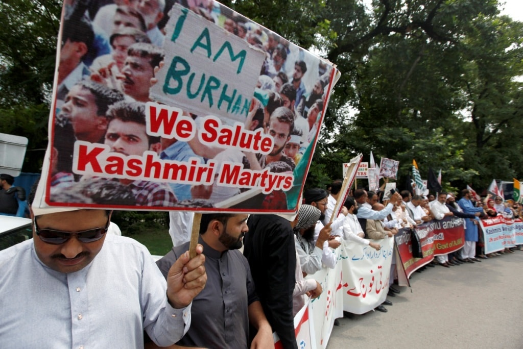 Protesters in Islamabad participate in a demonstration to condemn recent killings by Indian forces in IoK. — AP