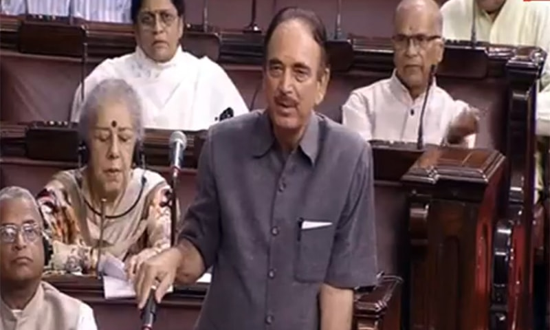 Senior Congress leader and Leader of Opposition in the Rajya Sabha Ghulam Nabi Azad speaks on the floor of India's upper house. — Photo courtesy India Today