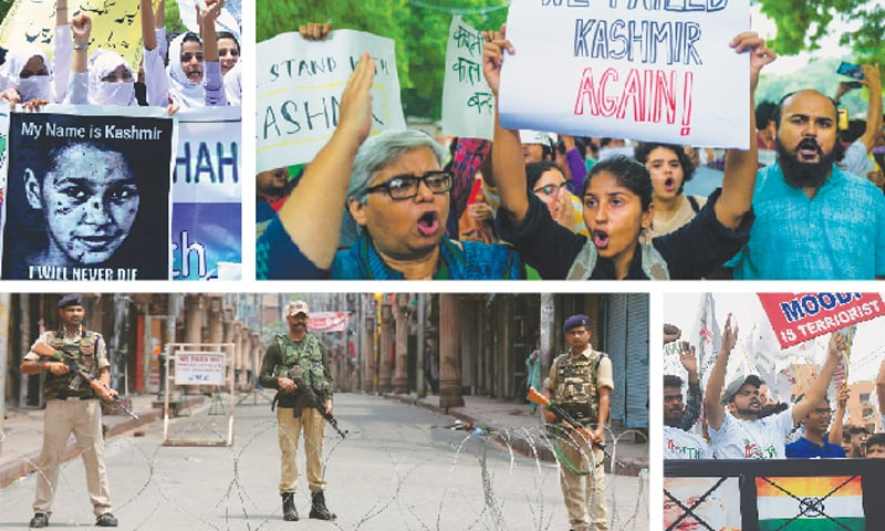 (Clockwise) Students chant slogans during an anti-India rally in Hyderabad on Monday after the move by New Delhi to revoke occupied Kashmir's special status. In New Delhi, supporters of India's left wing parties attend a demonstration against the presidential decree. In Lahore, activists of the Youth Forum for Kashmir hold a rally, and in Jammu, Indian soldiers stand guard on a deserted street.—AFP / Reuters