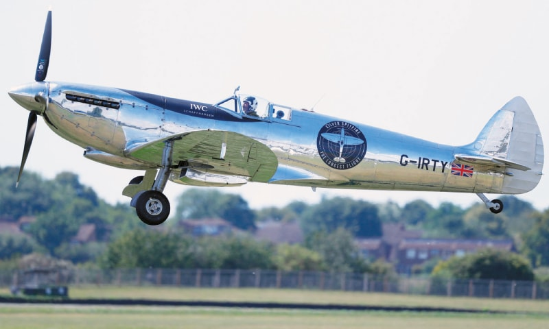 CHICHESTER (Britain): British aviator Matt Jones takes off in a restored World War II Silver Spitfire plane for a round-the-world flight attempt on Monday.—AFP