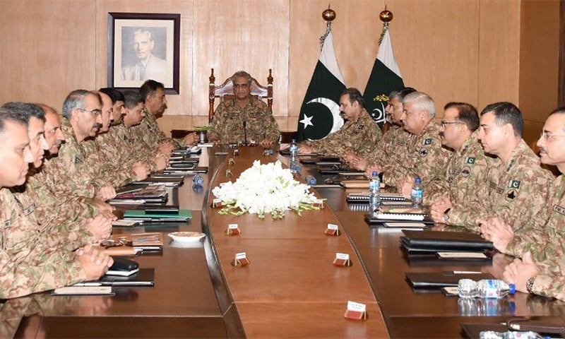 Corps Commanders meeting was held at GHQ in Rawalpindi to discuss India's decision to revoke Article 370. — Photo courtesy DG ISPR's official Twitter account