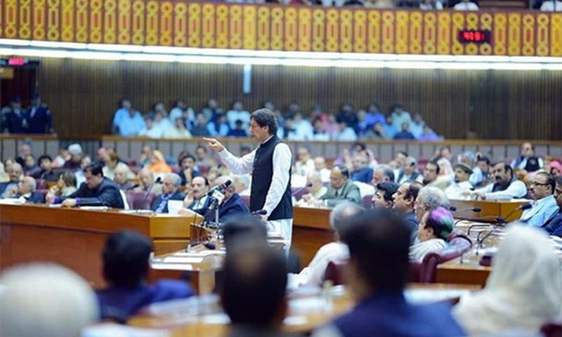 Prime Minister Imran Khan addresses the joint session of parliament on Tuesday. — Photo courtesy Imran Khan Instagram