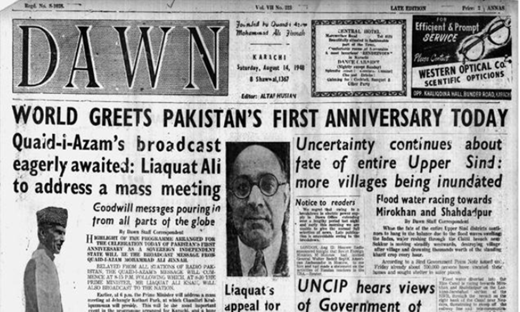 Front page of Dawn on August 14,1948. — Dawn Archives