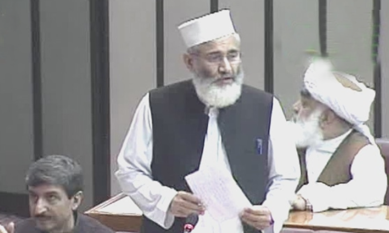 Jamaat-i-Islami (JI) chief Sirajul Haq addresses the joint session on Wednesday. — DawnNewsTV